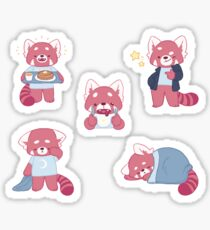Sleepy, Hungry, Cool Red Pandas Sticker