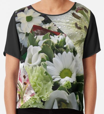 Weiße Freude - Floral Collage Chiffontop