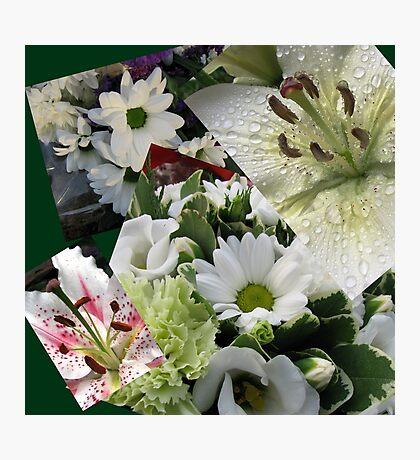 Weiße Freude - Floral Collage Fotodruck