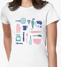 Baking Tools Pattern Women's Fitted T-Shirt