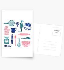 Baking Tools Pattern Postcards