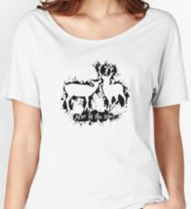 HP best friends - magic stag and doe with splashes outline (black) - witch / wizard - potterheads Women's Relaxed Fit T-Shirt
