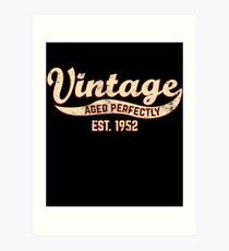 1952 Birthday Gift Vintage Est 66th Birthday 66 Yrs Old B-day Present Art Print