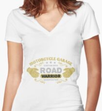 Motorcycle Garage Women's Fitted V-Neck T-Shirt