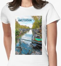 Vintage Amsterdam Travel Poster Women's Fitted T-Shirt