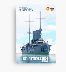 Soviet Cruiser Aurora Poster Canvas Print