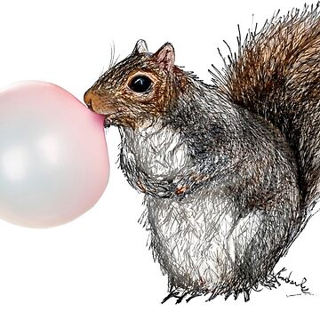 BubbleGum Bubble Squirrel Greeting Card by heARTcart