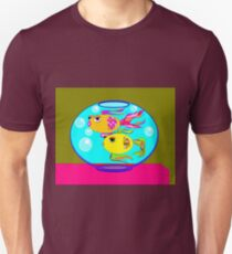Two Gold Fish in a Fish Bowl with Water and Bubbles Unisex T-Shirt