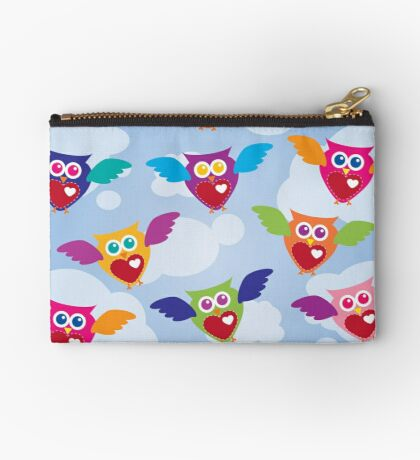 A Flock of Colorful Owls Studio Pouch