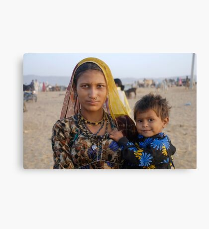 Gypsy woman with Child at Camel Fair Canvas Print