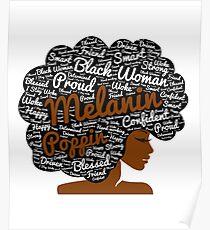 Melanin Poppin natürliche Haare Afro Art schwarze Frau Poster