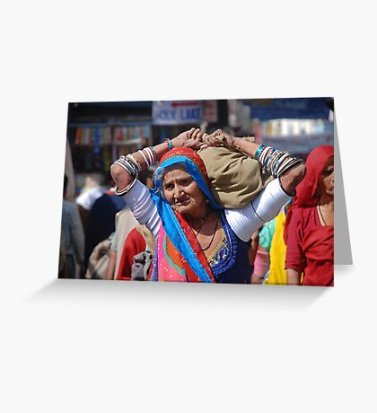 Old Woman at Camel Fair Pushkar Greeting Card