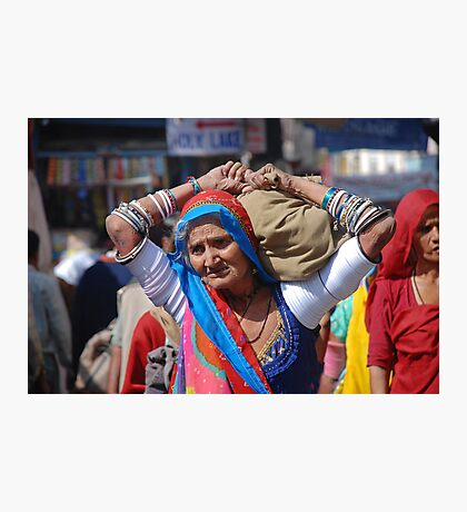 Old Woman at Camel Fair Pushkar Photographic Print