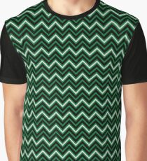 Chevrons - Green and Silver Graphic T-Shirt