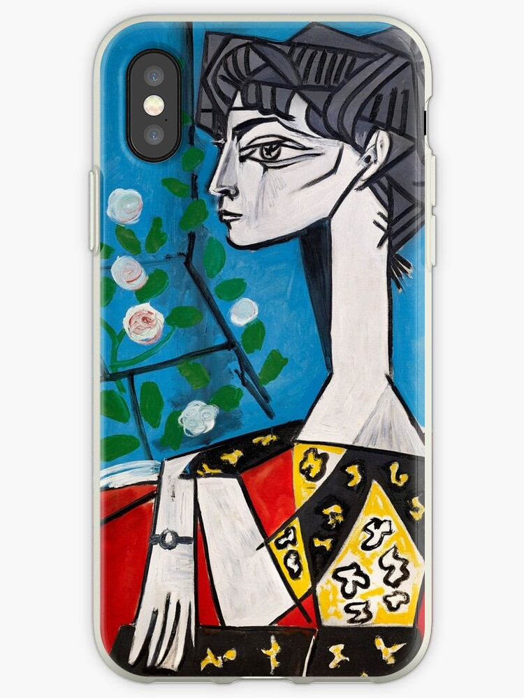 Pablo Picasso Portrait Jacqueline with flowers Wall Art Red and Blue ...