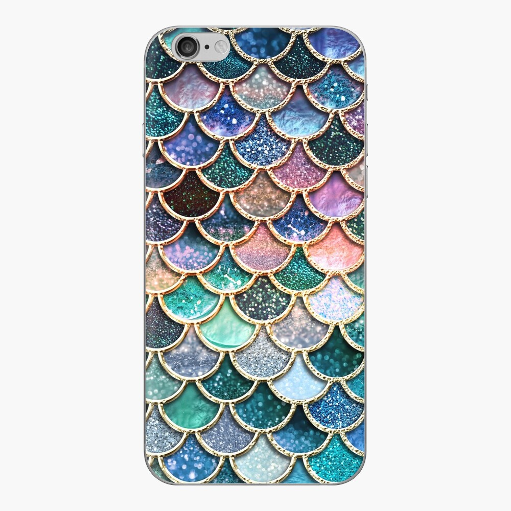 Teal, Silver and Pink Sparkle Faux Glitter Mermaid Scales iPhone Skin