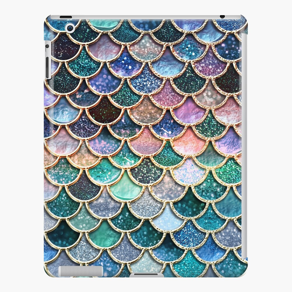 Teal, Silver and Pink Sparkle Faux Glitter Mermaid Scales iPad Case & Skin