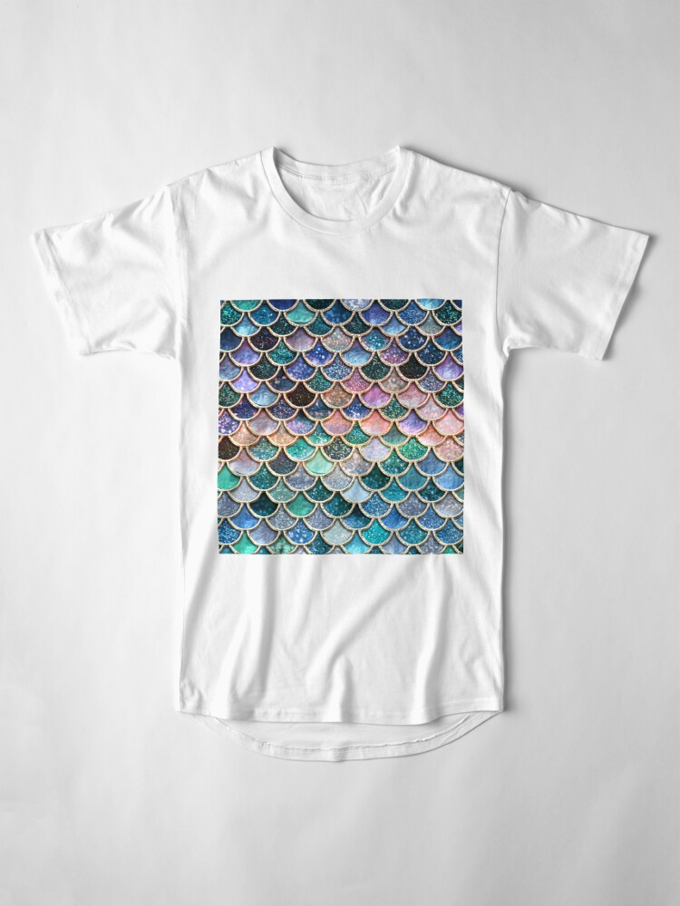 Alternate view of Teal, Silver and Pink Sparkle Faux Glitter Mermaid Scales Long T-Shirt