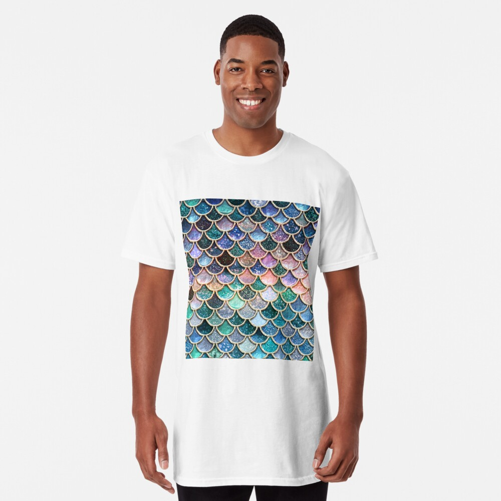 Teal, Silver and Pink Sparkle Faux Glitter Mermaid Scales Long T-Shirt