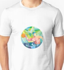 Water Polo Player Throw Ball Circle Low Polygon Unisex T-Shirt