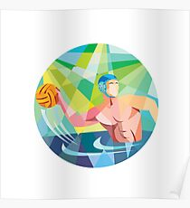 Water Polo Player Throw Ball Circle Low Polygon Poster