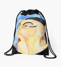 Putting on the Red Lipstick Drawstring Bag