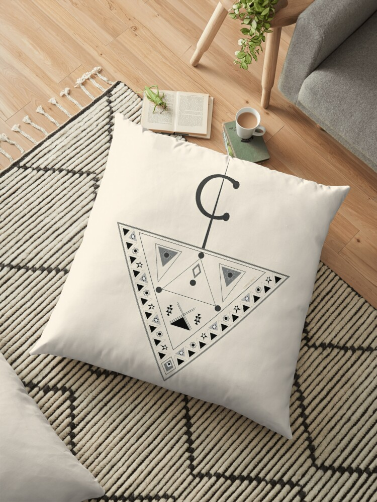 Moroccan Inspiration Fibula And Berber Drawings 2018 05 08 Floor Pillow By Corinne Deriot