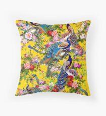 Peacocks & Peonies Throw Pillow