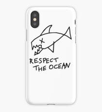 Respect the Ocean - Cool Grunge Mashup - White Version iPhone Case/Skin