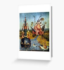 Heavenly dreamscape by Hieronymus Bosch Greeting Card