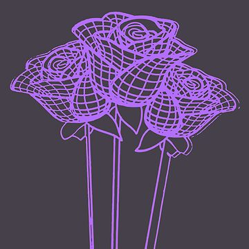 Enchanted Mesh Graphic Purple Roses Vector by taiche