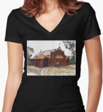 St Saviors Anglican Church, Minyip, Vic, Aus. Women's Fitted V-Neck T-Shirt