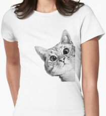sneaky cat Women's Fitted T-Shirt