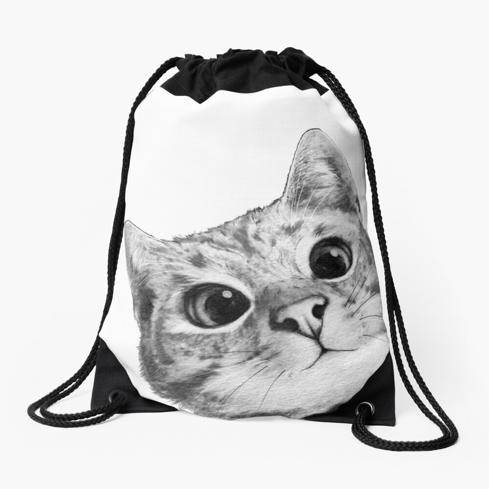 sneaky cat Drawstring Bag