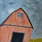 Abandoned Barn and Stormy Sky by lisavonbiela