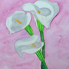 Calla Lilies on Pink Background by lisavonbiela