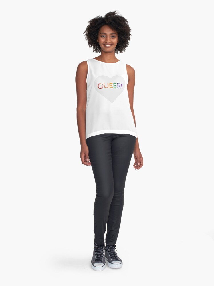 Alternate view of QUEER RAINBOW HEART Sleeveless Top