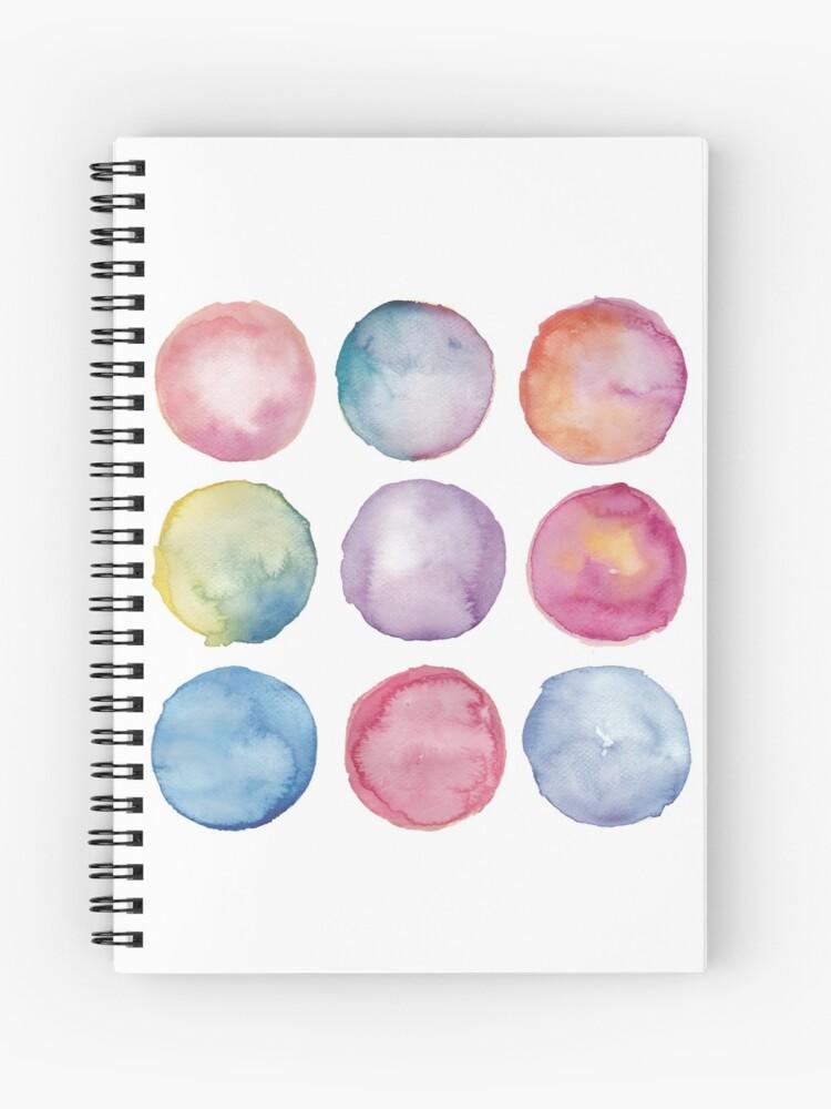 Pastel Abstract Watercolor Circles Minimalist Spiral Notebook