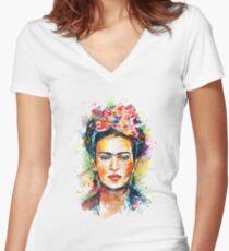 Frida Kahlo Women's Fitted V-Neck T-Shirt