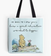 Classic Winnie The Pooh PRINTABLE, As soon as I saw you I knew a grand adventure was about to happen, Kids Wall Art, Boys Nursery Decor Blue Tote Bag