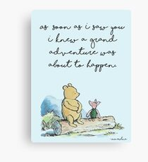 Classic Winnie The Pooh PRINTABLE, As soon as I saw you I knew a grand adventure was about to happen, Kids Wall Art, Boys Nursery Decor Blue Canvas Print