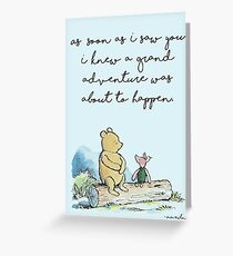 Classic Winnie The Pooh PRINTABLE, As soon as I saw you I knew a grand adventure was about to happen, Kids Wall Art, Boys Nursery Decor Blue Greeting Card