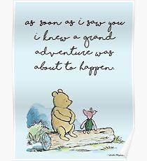 Klassische Winnie The Pooh BEDRUCKBAR, Sobald ich dich sah, wusste ich, dass ein großes Abenteuer passieren würde, Kids Wall Art, Boys Nursery Decor Blue Poster