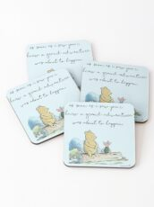 Classic Winnie The Pooh PRINTABLE, As soon as I saw you I knew a grand adventure was about to happen, Kids Wall Art, Boys Nursery Decor Blue Coasters