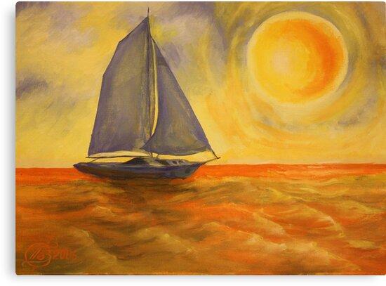 Oil Painting  - Sailboat 2005 by Igor Pozdnyakov