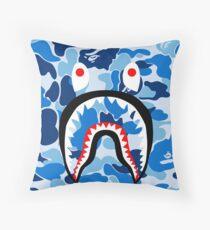 blue camo Throw Pillow