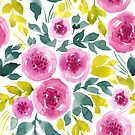 Pink peonies pattern by Foxeye Daisy