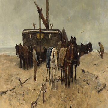 Fishing boat on the beach-Anton Mauve by LexBauer