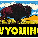 Wyoming Buffalo Bison Yellowstone National Park Vintage Travel by MyHandmadeSigns