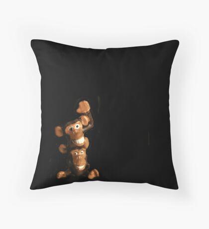 2 Funny Monkey Throw Pillow